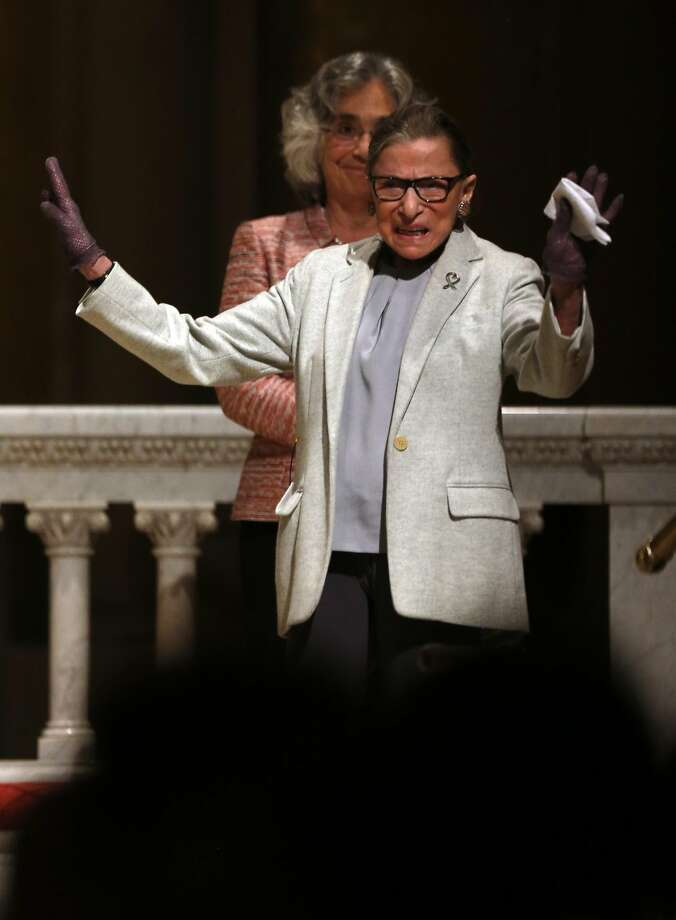 US Supreme Court Justice Ruth Bader Ginsburg acknowledges applause before speaking at Stanford Memorial Church in Stanford, Calif., on Monday, February 6, 2017. Photo: Scott Strazzante, The Chronicle