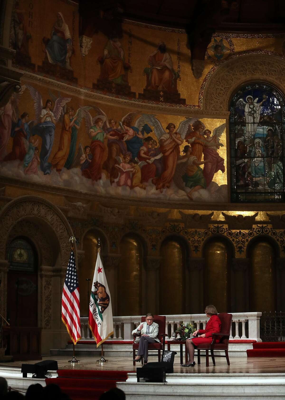 US Supreme Court Justice Ruth Bader Ginsburg is interviewed by Dean Jane Shaw at Stanford Memorial Church in Stanford, Calif., on Monday, February 6, 2017.
