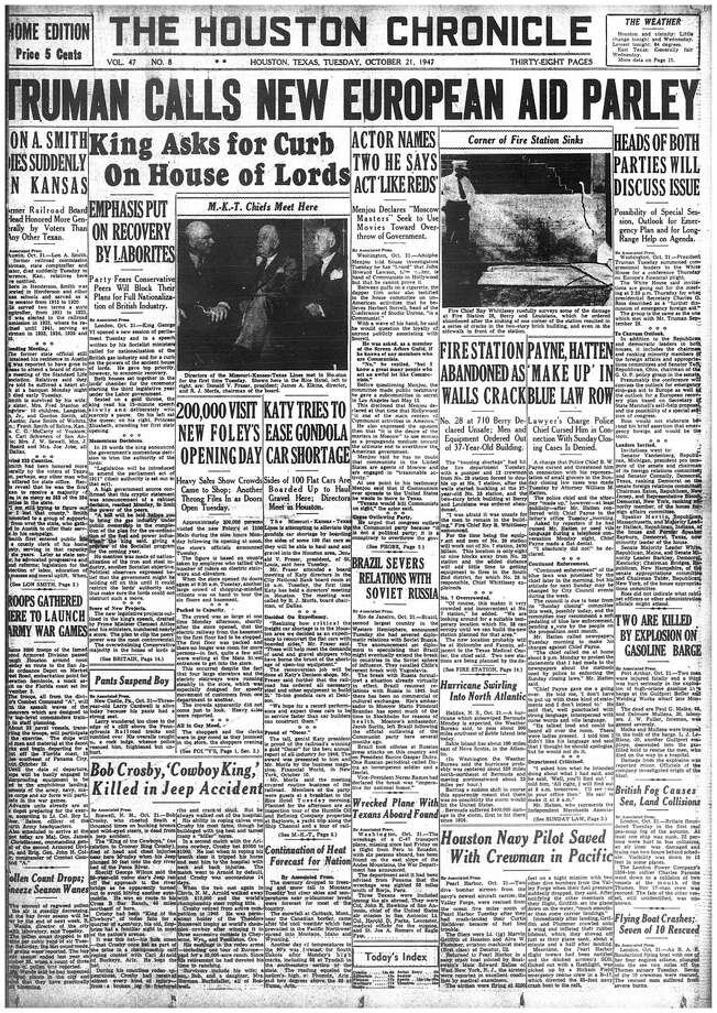 Houston Chronicle front page (HISTORIC) - October 21, 1947 - section 1, page 1. 200,000 Visit New Foley's Opening Day. / Houston Chronicle microfilm