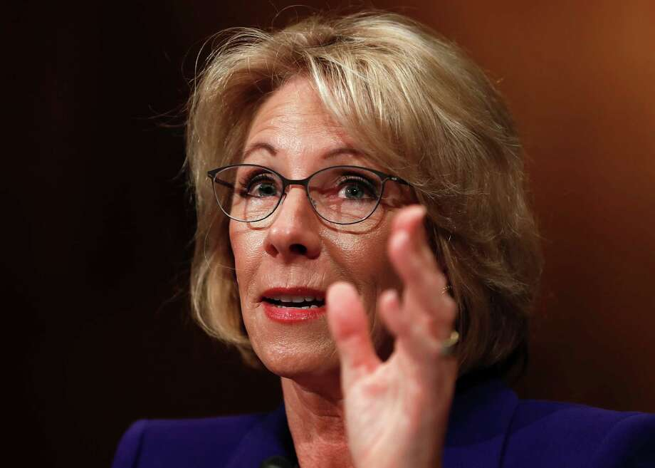 In this Jan. 17, 2017 file photo, Education Secretary-designate Betsy DeVos testifies on Capitol Hill in Washington at her confirmation hearing before the Senate Health, Education, Labor and Pensions Committee.  Photo: Carolyn Kaster, AP / Copyright 2017 The Associated Press. All rights reserved.