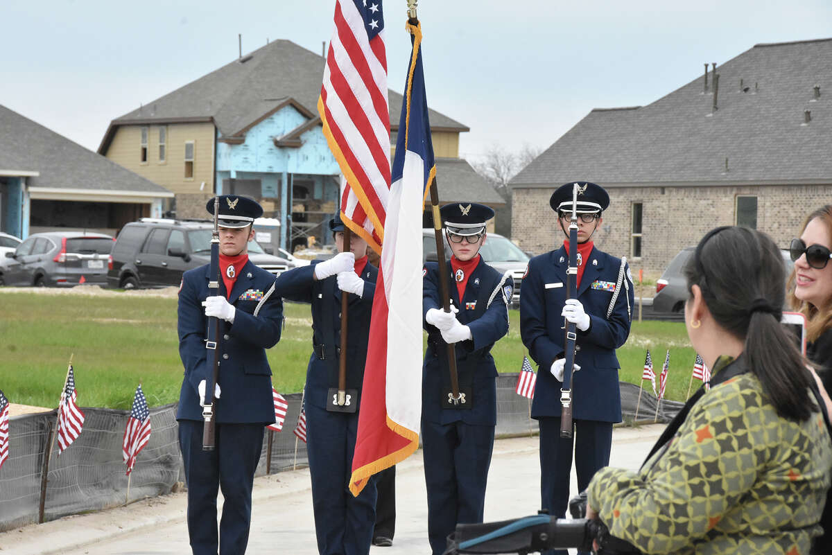 The Cypress Woods High School Air Force Junior ROTC unit presented the colors at the Operation Finally Home groundbreaking in the Bridgeland community on Jan. 27.