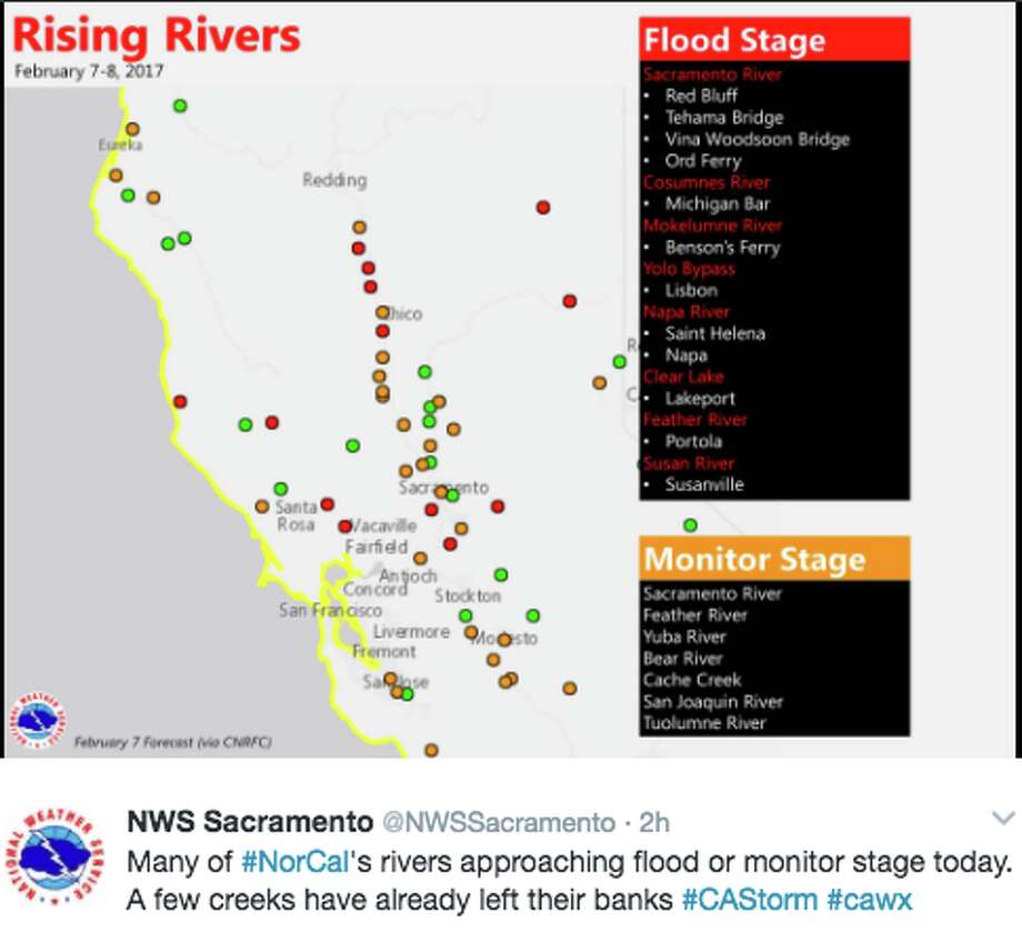 Many of #NorCal's rivers approaching flood or monitor stage today. A few creeks have already left their banks. Photo: National Weather Service Twitter Screen Grab