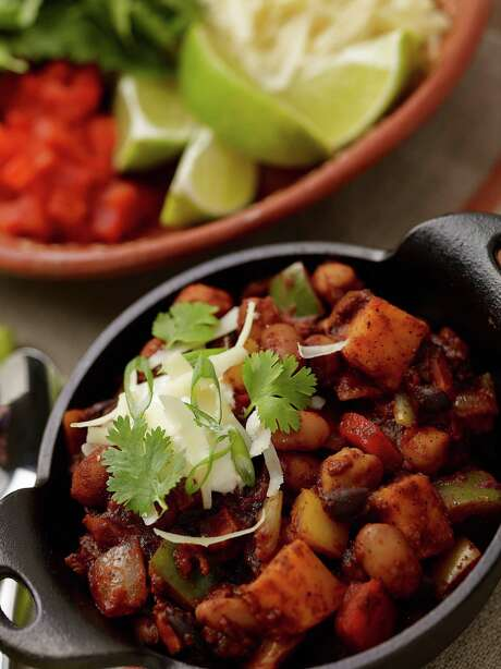 This vegetarian chili makes the most out of squash, black beans, pinto beans and garbanzo beans. Photo: Courtesy Culinary Institute Of America / © 2013 The Culinary Institute of America - Phil Mansfield