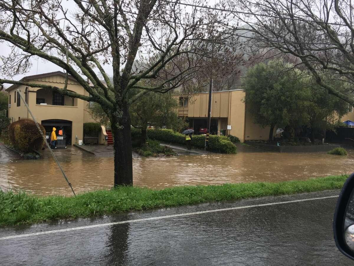 Flooding along Center Road in San Anselmo, Calif., on Feb. 7, 2017.