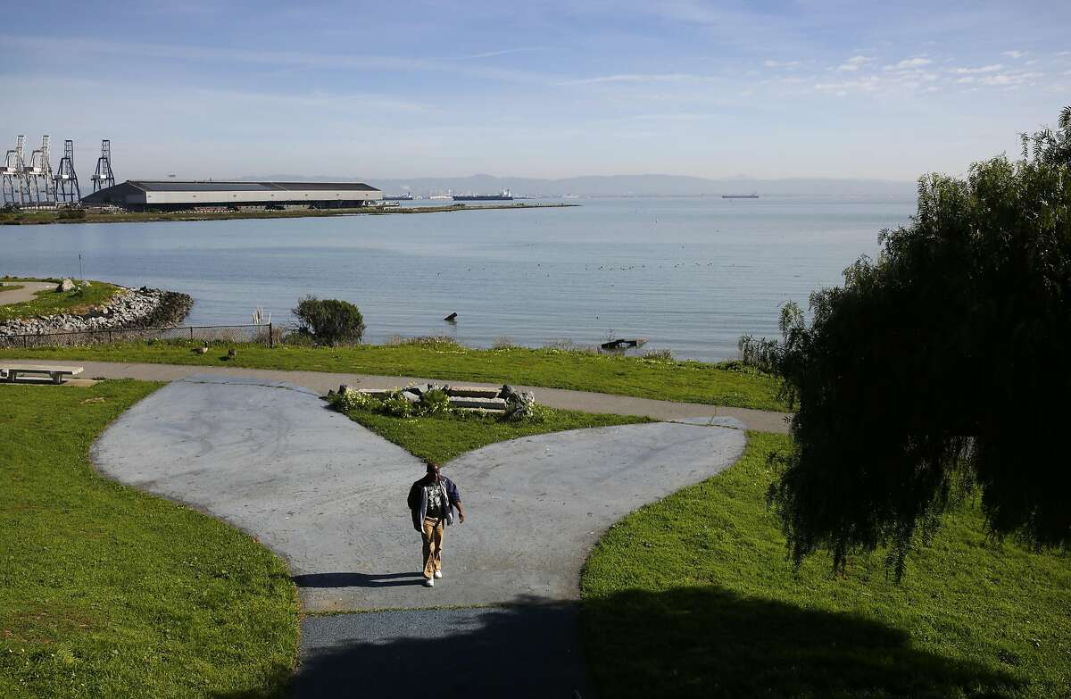 """Michael Coffey walks through the park at India Basin Shoreline Park Feb. 24, 2016 in San Francisco, Calif. San Francisco Recreation and Parks Department and the Trust for Public Land held a """"Design Ideas Competition"""" to decide how to develop the shoreline. Coffey, who has lived in the Bayview all of his life and has dealt with the health ramifications of the toxic shoreline says he is not sure how he feels about the development."""