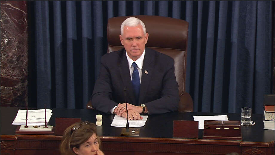In this image from video, provided by Senate Television shows Vice President Mike Pence presiding over the Senate on Capitol Hill in Washington, Tuesday, Feb. 7, 2017, during the Senate's vote on Education Secretary-designate Betsy DeVos. The Senate confirmed DeVos with Pence breaking a 50-50 tie. (Senate Television via AP) Photo: AP / Senate Television
