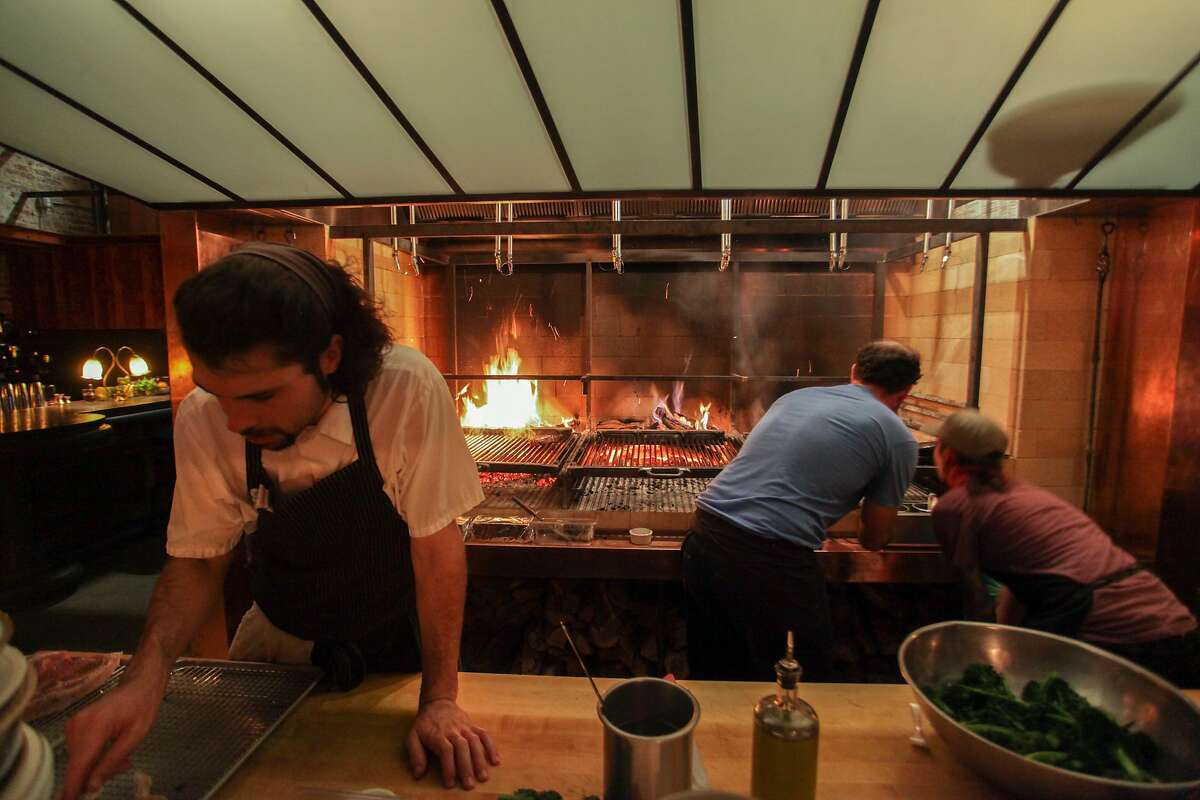 A wood burning grill at Penrose restaurant in Oakland on November 22nd 2013.