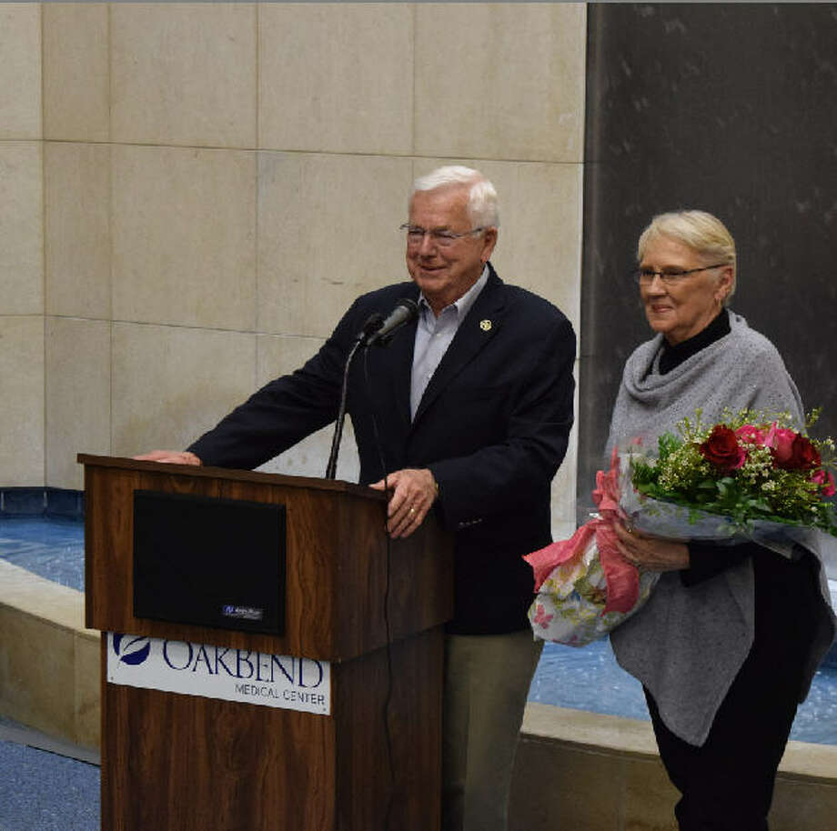 Oakbend Medical Center has renamed the Jackson Street atrium in honor of Joe and Doris Gurecky. He formerly served on the hospital board as a member and as president. Photo: OakBend Medical Cener