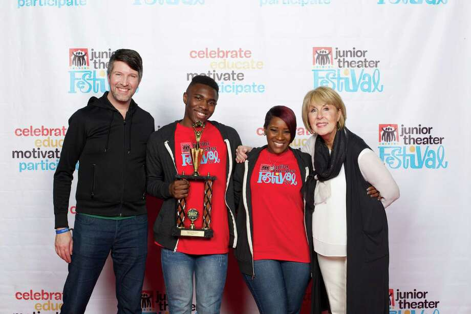 "From left: Music director and performer Brad Simmons (""Camp"", Broadway's Lysistrata Jones), student Jaylen Axel, educator Mikeitta Williams and Cindy Ripley, educational consultant for iTheatrics, MTI Show Support adviser and member of the 2005 USA Today All Star Teaching team. Photo: James Barker / © 2016 James W Barker"