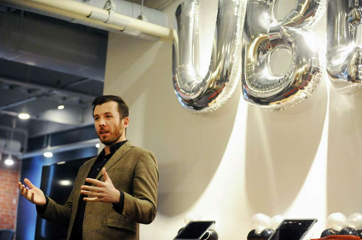 Uber General Manager Matt Powers speaks during the ribbon cutting for the new Greenlight Hub for Uber driver-partners in Stamford, Conn. on Tuesday, Feb. 7, 2017.