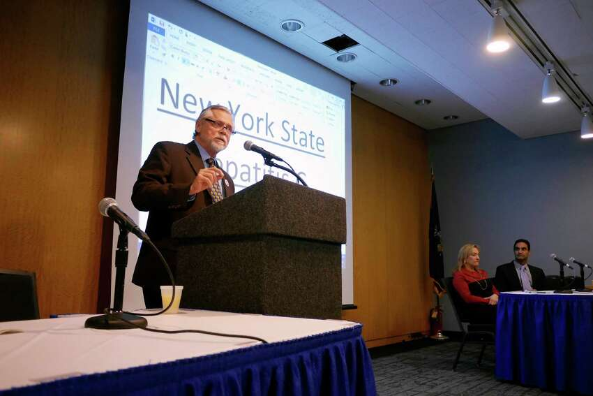 Charles King, the president and CEO of Housing Works, addresses those gathered at the state's first ever Hepatitis C Elimination Summit on Tuesday, Feb. 7, 2017, in Albany, N.Y. (Paul Buckowski / Times Union)