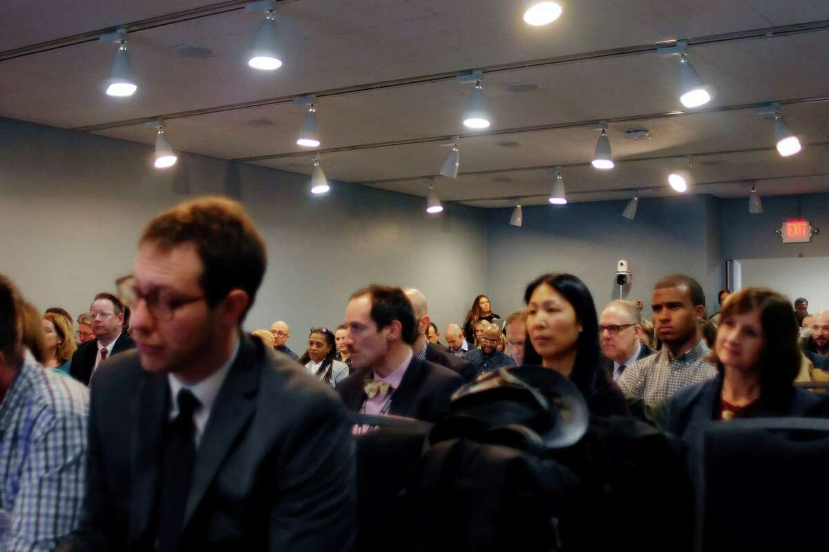 Attendees at the state's first ever Hepatitis C Elimination Summit listen as New York State Health Commissioner Dr. Howard Zucker addresses them on Tuesday, Feb. 7, 2017, in Albany, N.Y. (Paul Buckowski / Times Union)