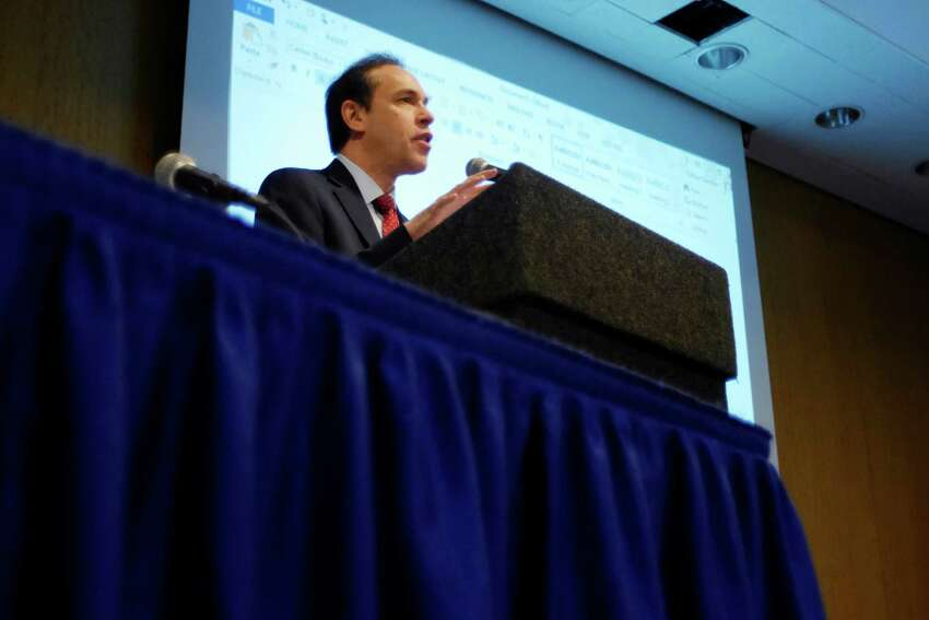 New York State Health Commissioner Dr. Howard Zucker speaks at the state's first ever Hepatitis C Elimination Summit on Tuesday, Feb. 7, 2017, in Albany, N.Y. (Paul Buckowski / Times Union)