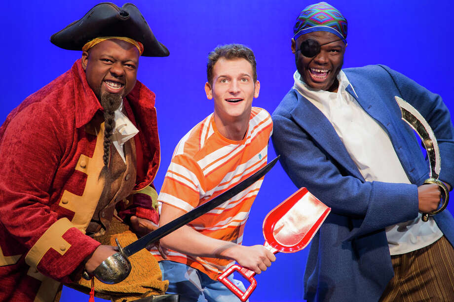 Main Street Theater's upcoming production of How I Became a Pirate will have select performances in February, March and April.  Left to right: Captain Braid Beard (Rodrick Randall), Jeremy Jacob (Michael Chiavone), and Sharktooth the Pirate (Phillip Brown.) Photo: Submitted