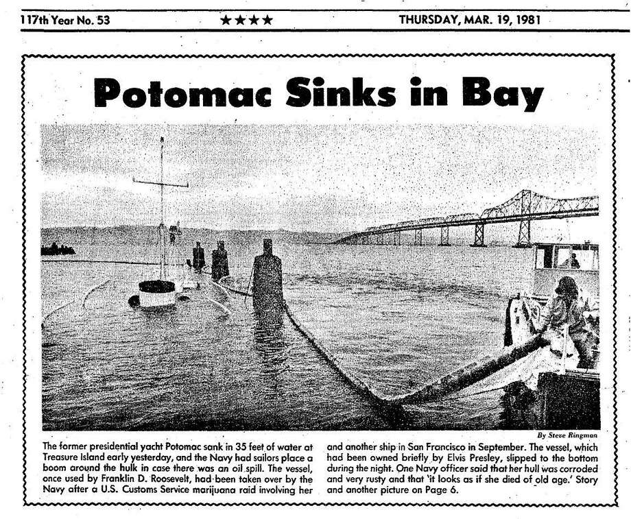 The March 19, 1981 Chronicle front page reports on The Potomac sinking while docked at Treasure Island.