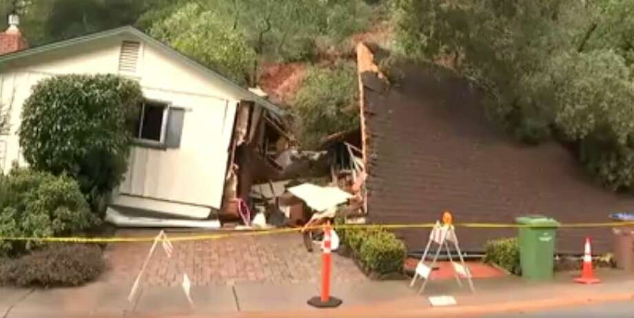 A mudslide tore apart a home on Mountain View Ave. in San Rafael Tuesday after hours of pounding rain hit the North Bay. Photo: KTVU