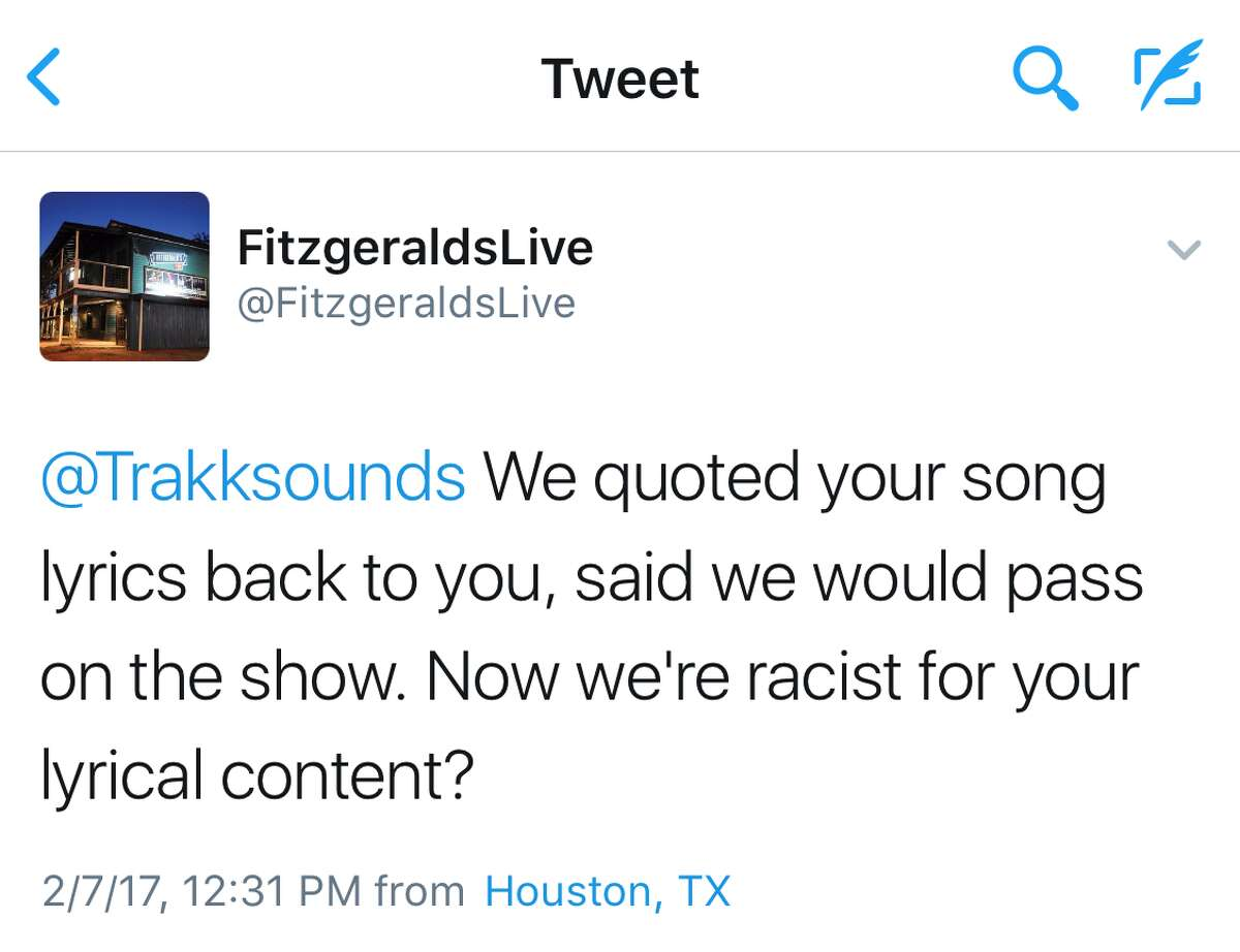 Tweets sent from the Fitzgerald's account to Trakksounds, a Houston producer who has worked with 2 Chainz, Wiz Khalifa, ASAP Rocky, Chamillionaire, Mac Miller, Kirko Bangz, Big Sean, Kendrick Lamar and more.