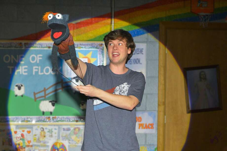 "Michael Doherty plays Jason the human teenager and Tyrone the sock puppet in ""Hand to God"" at Berkeley Rep. Photo: Kevin Berne, Berkeley Repertory Theatre"