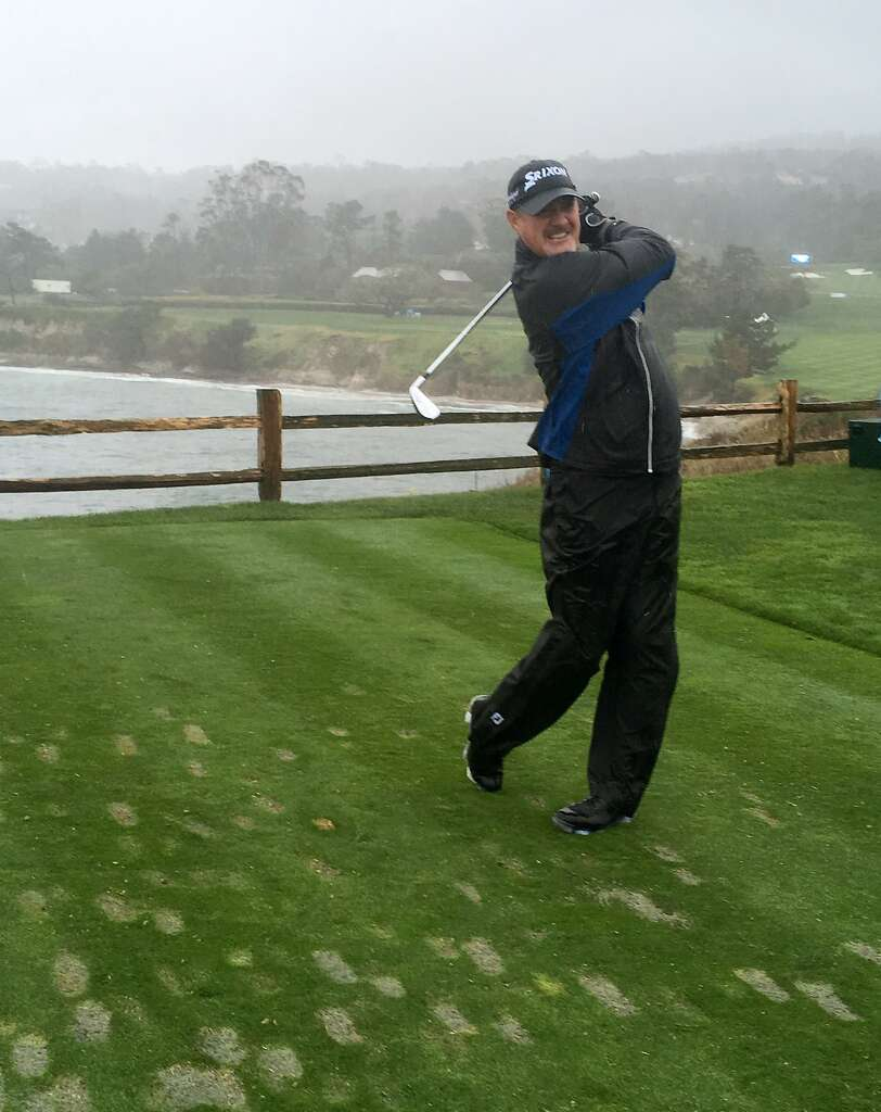Pga Tour Veteran Jerry Kelly Tees Off With A  Iron Into The Wind On Pebble Beach