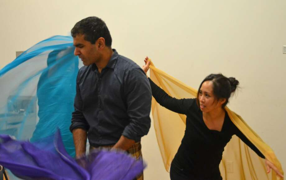 "Julie Ann Valdez (right) and Lijesh Krishnan in ""Who Dares."" Photo: William Newton, Those Women Productions"