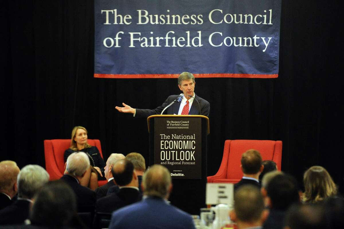 Joseph Tracy, executive vice president and senior adviser to the president of the Federal Reserve Bank of New York, speaks about the national economic outlook and regional forecast to the Business Council of Fairfield County inside Stamford Crowne Plaza in Stamford on Tuesday.
