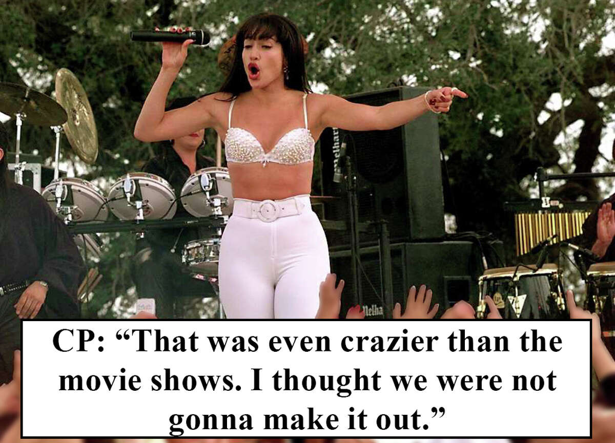 The scene: Selena's concert gets out of control, she settles the masses with her singing.