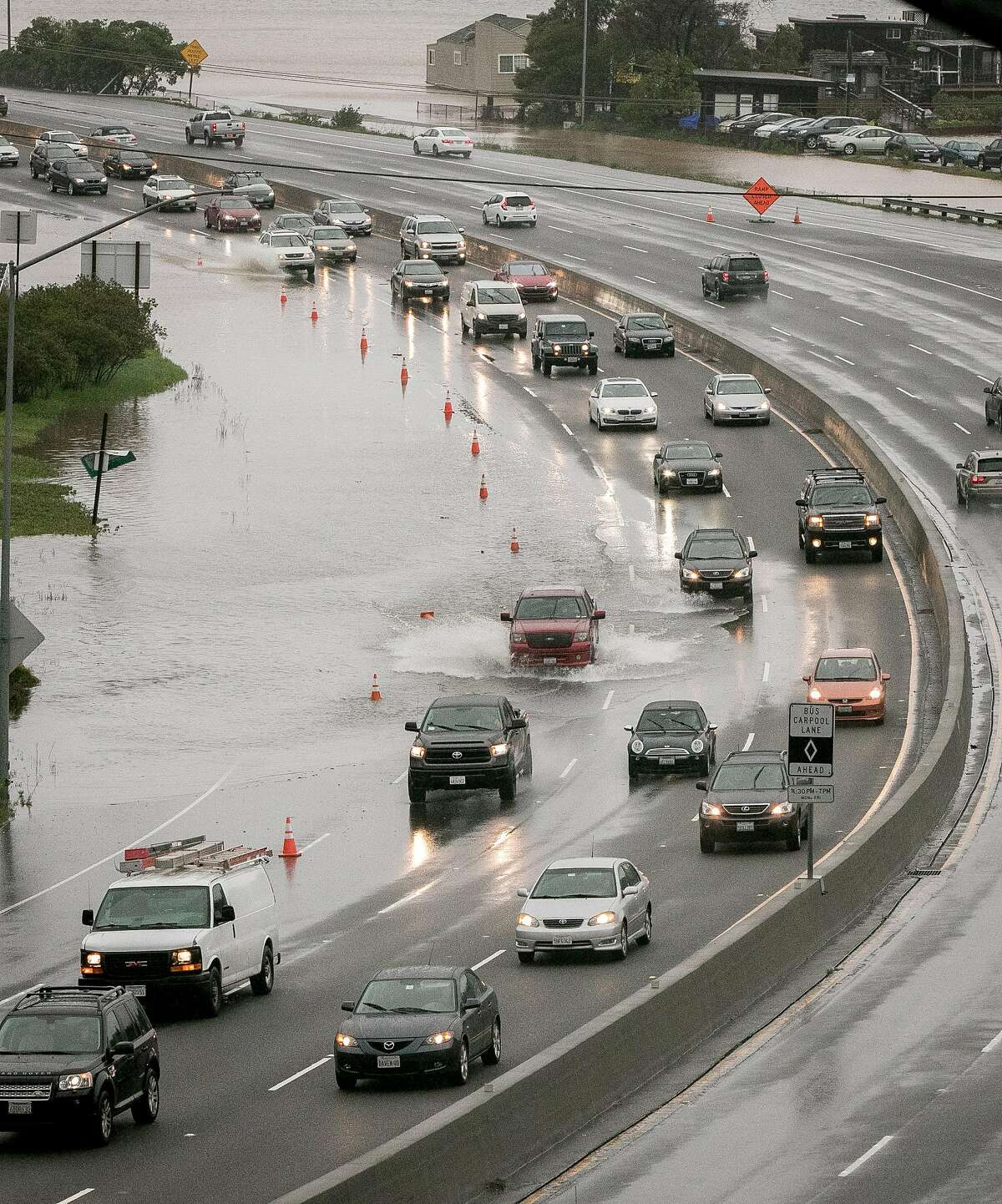 Flooding on Highway 101 in Sausalito is seen on February 7th. CalTrans has closed roads due to flooding in both Napa and San Mateo counties on February 20.