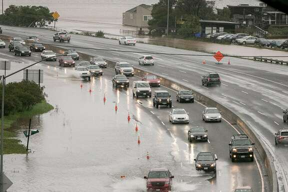 Flooding on Highway 101 in Sausalito, Calif. is seen on February 7th, 2017.