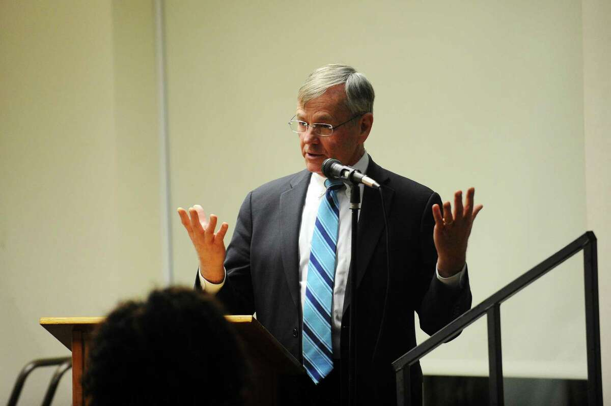 Connecticut Department of Transportation commissioner James Redeker speaks during a community forum regarding excessive noise from train horns and whistles inside the Harry Bennett Library auditorium in Stamford, Conn. on Monday, Feb. 6, 2017.