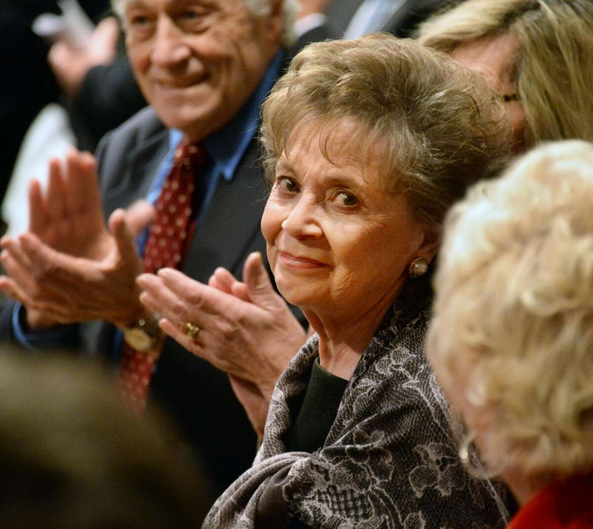 Gov. Andrew Cuomo's mother and former first lady Matilda Cuomo is applauded during her son's State of the State address and budget proposal Wednesday January 21, 2015, at the Empire State Plaza Convention Center in Albany, N.Y. (John Carl D'Annibale / Times Union)