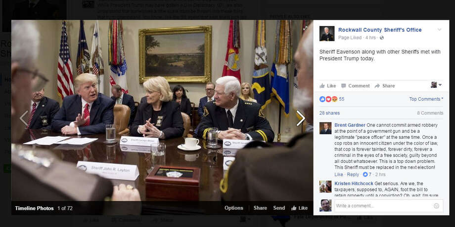 White House meetingRockwall County Sheriff Harold Eavenson (seated to the right) met with President Donald Trump and other sheriff's Tuesday, Feb. 7, 2017, at the White House. During the meeting, Trump offered to destroy the career of an unnamed Texas state senator who was proposing a measure concerning asset forfeiture Eavenson didn't like.Take a look back at some of the biggest cases involving corporations, kingpins and civilians. Photo: Facebook