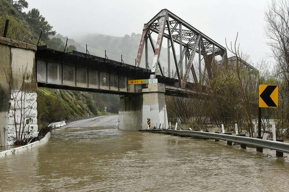 The Alameda Creek crested it's banks and flooded a low section of Niles Canyon Road in Fremont, CA on Tuesday, February 7, 2017.