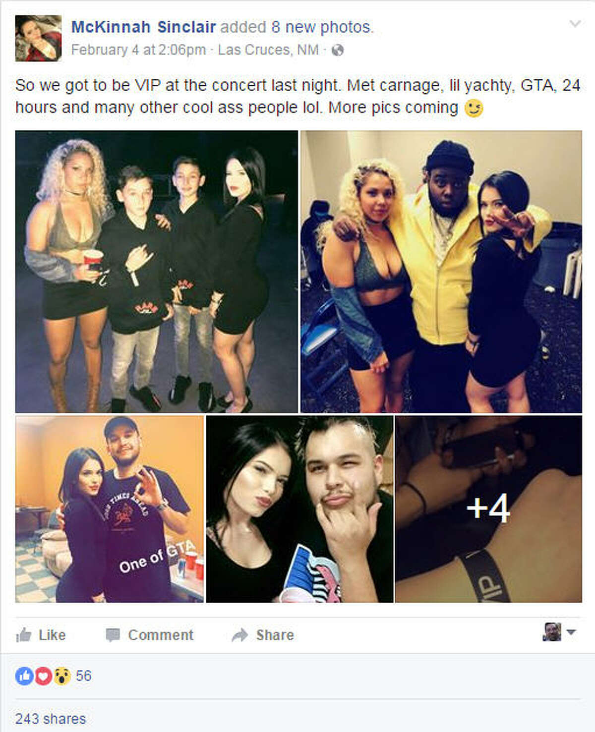 Facebook postings McKinnah Sinclair, an 18-year-old New Mexico State cheerleader, posted photos to her Facebook page from a concert in El Paso, Texas, the night of Feb. 3, 2017. Police say she was last heard from with 19-year-old Charlie Daniels in Juarez, Mexico in the early morning hours of Feb. 4, 2017.