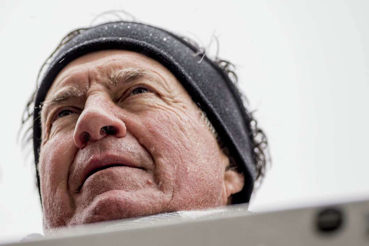 BOSTON, MA - FEBRUARY 07: Head coach Bill Belichick of the New England Patriots looks on during the Super Bowl victory parade on February 7, 2017 in Boston, Massachusetts. The Patriots defeated the Atlanta Falcons 34-28 in overtime in Super Bowl 51.