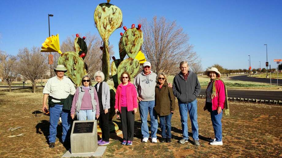 Members of the Midland Walkabout Volkssport Club Ike Graves, from left, Criss Kohl, Cathey Graves, Karen Burden, Mike Owen, Cherry Owen, Ken Fine and Carolyn Petersen during a walk at the University of Texas of the Permian Basin. Photo:  Courtesy Photo