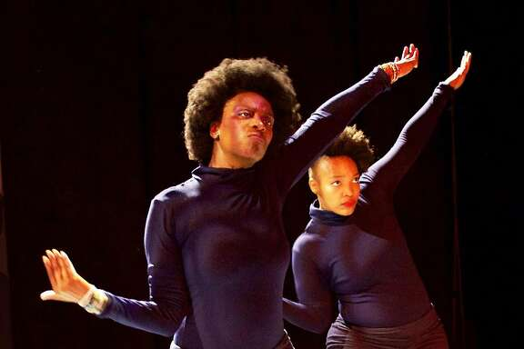 "l-r; Latanja Tigner and Dorcas Mba in Dimensions Dance Theater's ""Project Panther through Sunday,  Feb. 12 at Malonga Casquelord Center for the Arts.  Photo by Ed Miller"