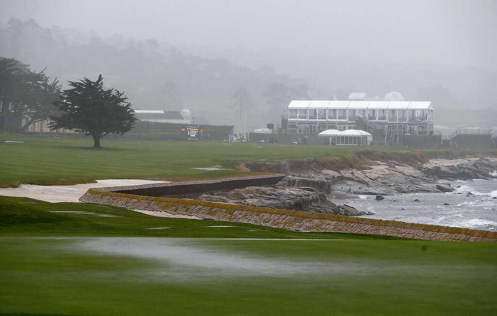 Pebble Beach Ca February  Heavy Rain And Strong Winds Hammer The Th