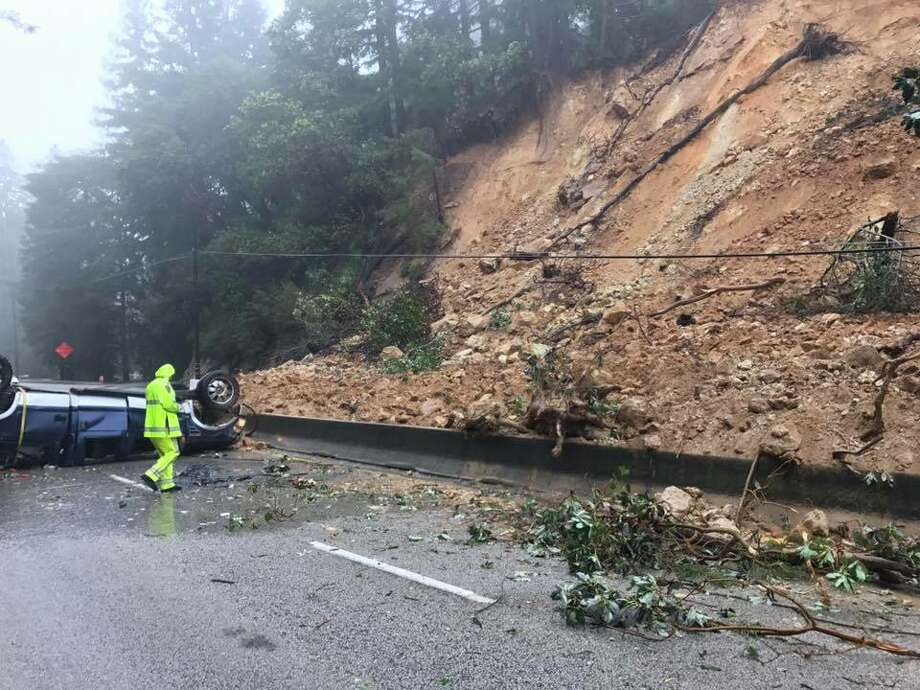 A mudslide blocks lanes of Highway 17 in the Santa Cruz Mountains after a damaging storm on February 7, 2017. Photo: CHP
