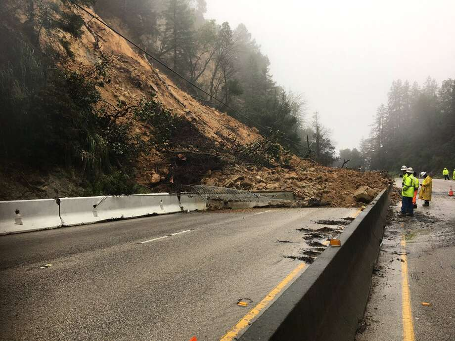 A mudslide blocks lanes of Highway 17 in the Santa Cruz Mountains after a damaging storm on February 7, 2017. Photo: Rob Malcom/KTVU