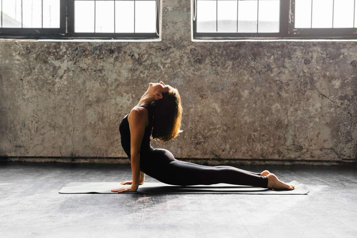 Woman does yoga.