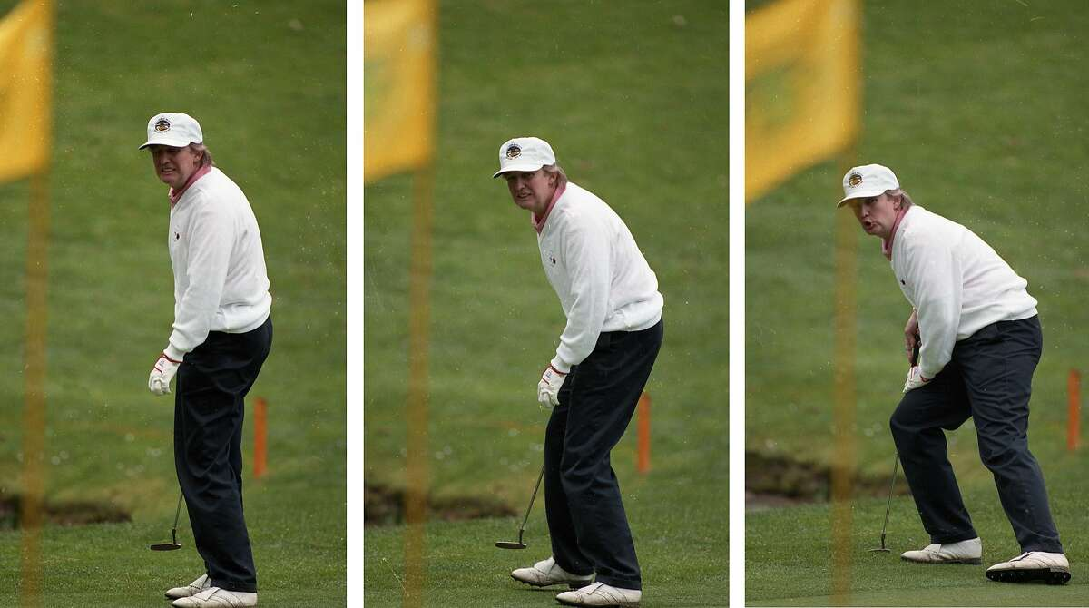 Donald Trump putts during the 1993 AT& Pebble Beach Pro-Am.