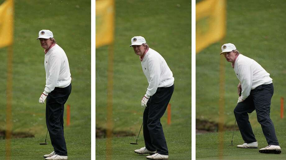 Donald Trump putts during the 1993 AT&T Pebble Beach Pro-Am. Photo: Chris Stewart, The Chronicle