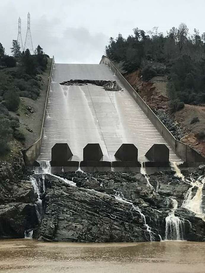 State water managers stopped releasing water from Lake Oroville on Tuesday because of damage to the spillway. Officials say there's enough space in the reservoir to store runoff until the problem is investigated and fixed. Photo: Max Whittaker / Special To The Chronicle / The San Francisco Chronicle