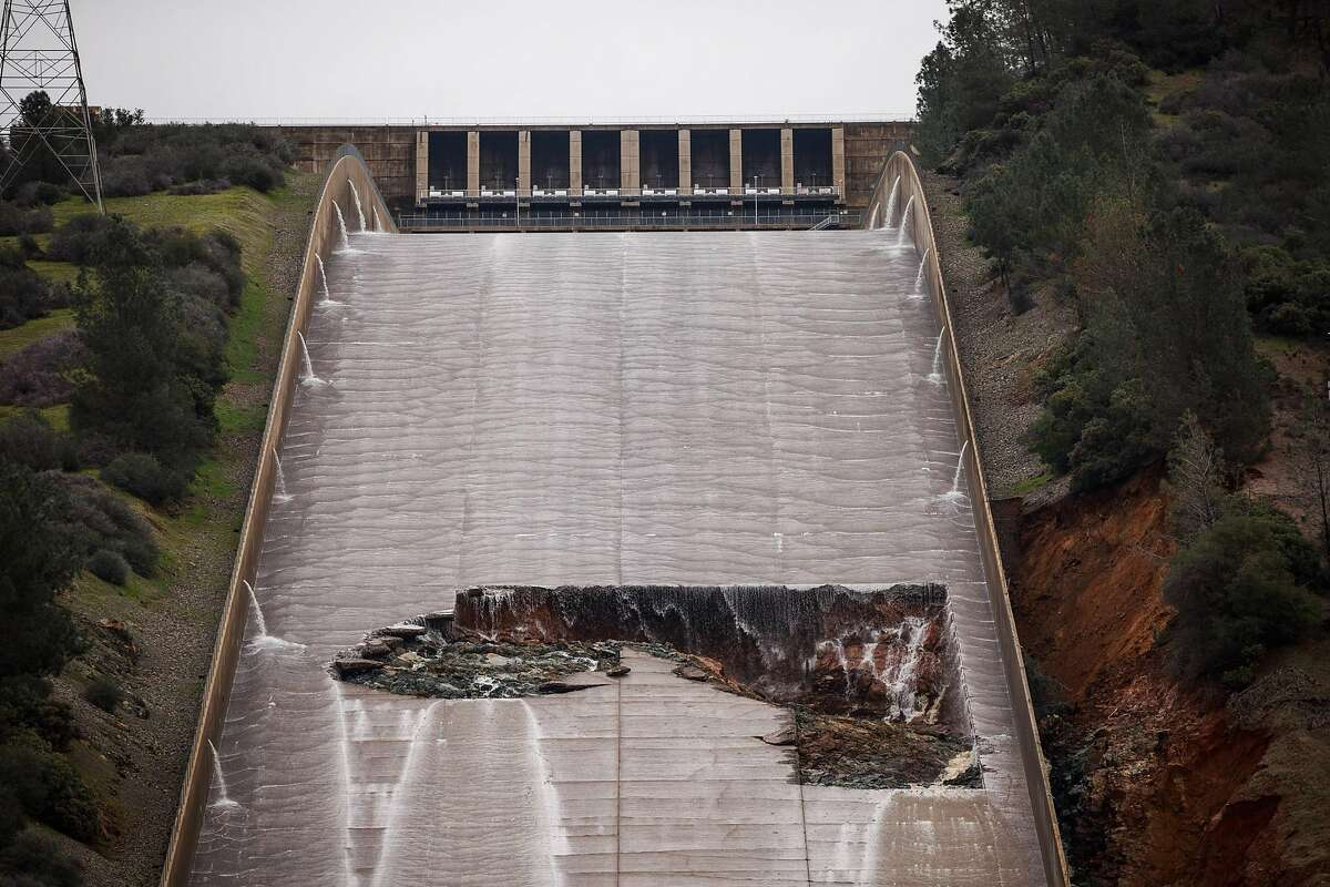Feb. 7, 2017: A gaping hole appearsin the Oroville Dam spillway A hole was torn in the spillway of the Oroville Dam while releasing approximately 60,000 cubic-feet-second of water in advance of more rain on February 7, 2017 in Oroville, California.