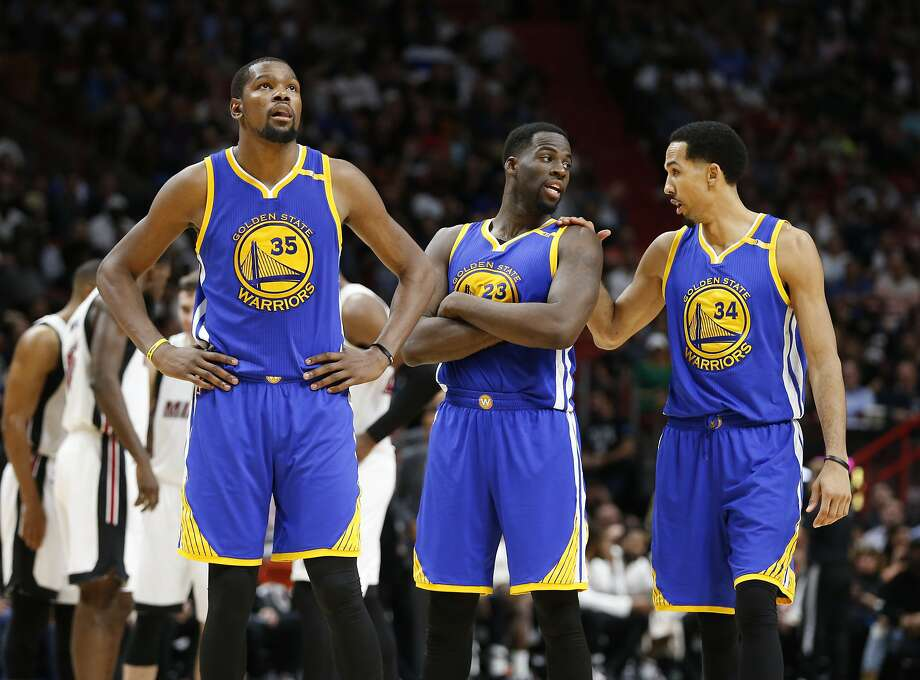 Golden State Warriors forwards Kevin Durant (35) Draymond Green (23) and guard Shaun Livingston (34) are shown during the second half of an NBA basketball game against the Miami Heat, Monday, Jan. 23, 2017, in Miami. The Heat defeated the Warriors 105-102. (AP Photo/Wilfredo Lee) Photo: Wilfredo Lee, Associated Press