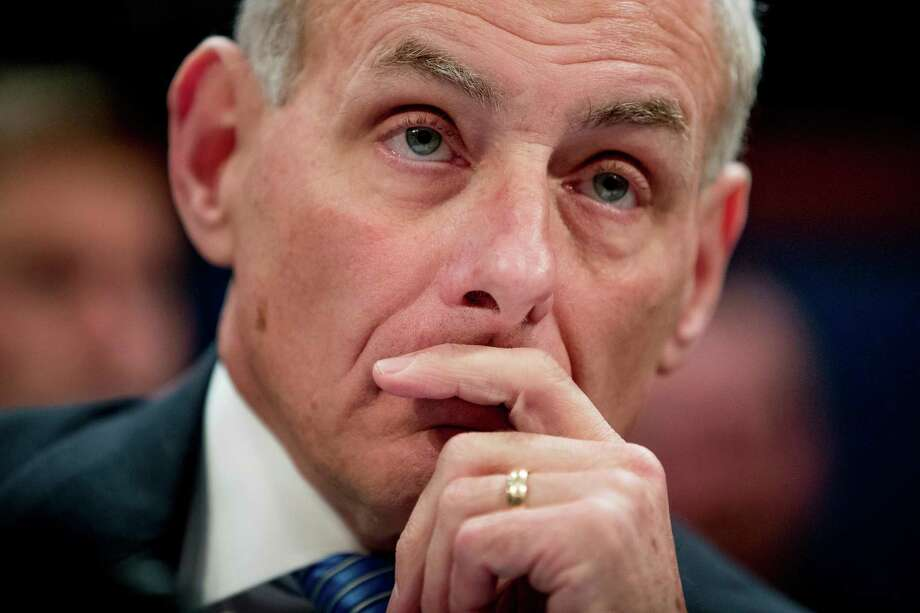 Homeland Security Secretary John Kelly listens while testifying on Capitol Hill in Washington, Tuesday, Feb. 7, 2017, before the House Homeland Security Committee. This is Kelly's first public appearance before lawmakers who are sure to press him for details about the Trump administration's contentious rollout of a travel and refugee ban. (AP Photo/Andrew Harnik) Photo: Andrew Harnik, STF / Copyright 2017 The Associated Press. All rights reserved.