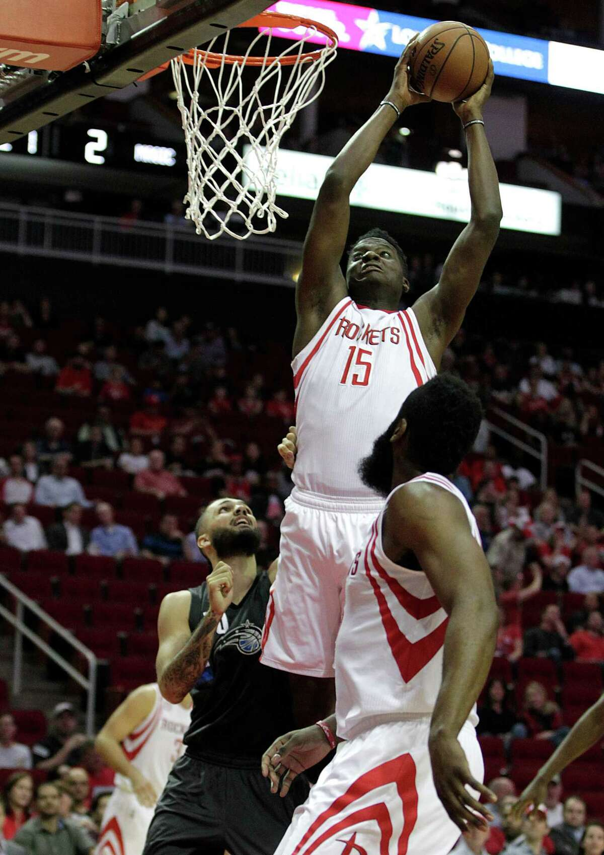 Houston Rockets center Clint Capela heads to the basket against the Orlando Magicduring first half of NBA game action at Toyota Center Tuesday, Feb. 7, 2017, in Houston.