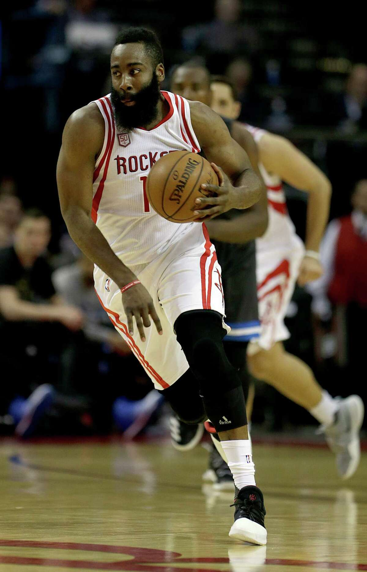 Houston Rockets guard James Harden drives with the ball against the Orlando Magic during first half of NBA game action at Toyota Center Tuesday, Feb. 7, 2017, in Houston.