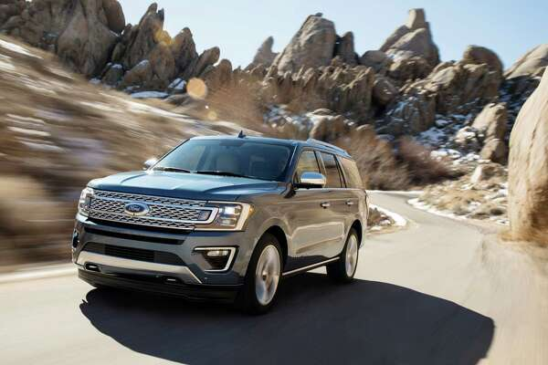 This photo provided by Ford Motor Company shows the 2018 Ford Expedition. Ford says the 2018 Ford Expedition is 300 pounds lighter than the previous model thanks to a new aluminum body and a high-strength steel frame. (Ford Motor Company via AP)