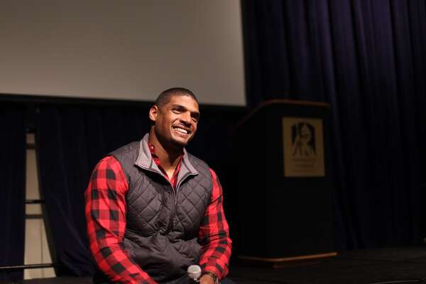 Micheal Sam speaking at UAlbany Tuesday, February 7, 2017.